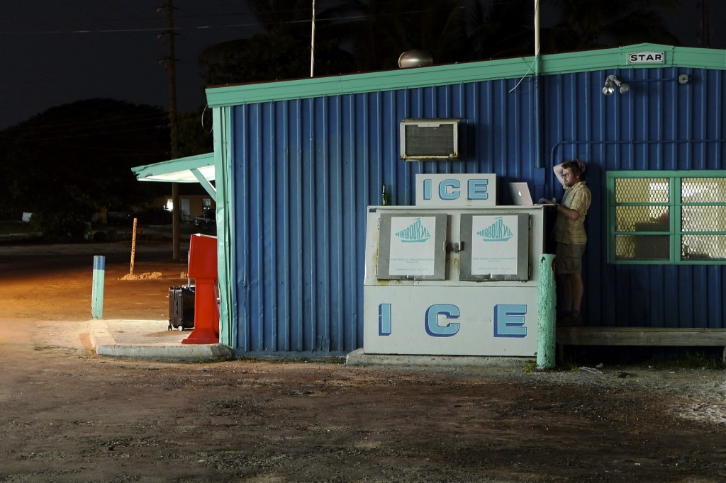 Me, stealing Wi-Fi (and power) from a closed shop in Great Exuma.